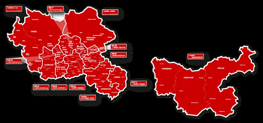 Das Sendegebiet der Westfunk-Sender zwischen Niederrhein, Ruhrgebiet und Sauerland.